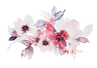 Fototapeta Do hotelu Flowers watercolor illustration