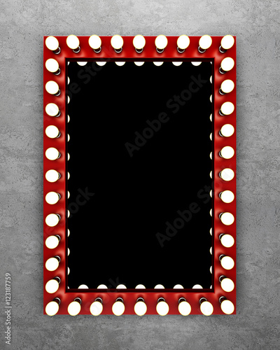 Fotografía  Red makeup mirror on the concrete wall. 3D rendering