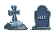 Vector Illustration Of Old Gravestone With Cracks.