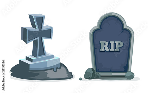 vector illustration of Old gravestone with cracks. Canvas Print
