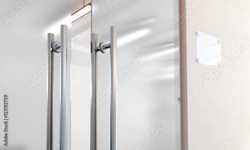 Blank glass door with metal handles mockup, 3d rendering  Office