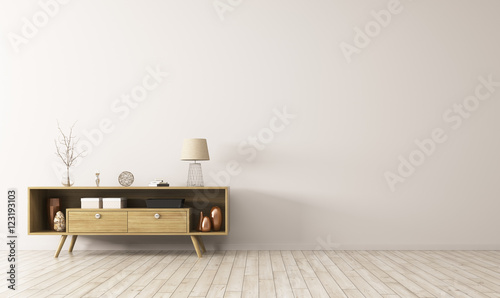 Fotografie, Tablou Interior with wooden sideboard 3d rendering