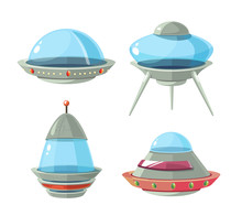 Cartoon Alien Spaceship, Spacecrafts And Ufo Vector Set