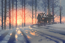 Winter Landscape Of An Abandoned House In The Forest,illustration Painting