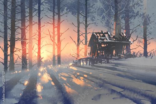 zimowy-krajobraz-opuszczony-dom-w-lesie