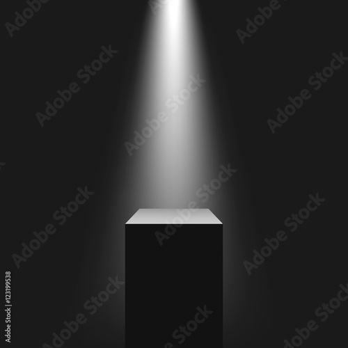 Fotografía Pedestal with light source, vector illustration.