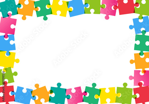 Fotografie, Obraz  Colorful puzzle frame on white background Vector