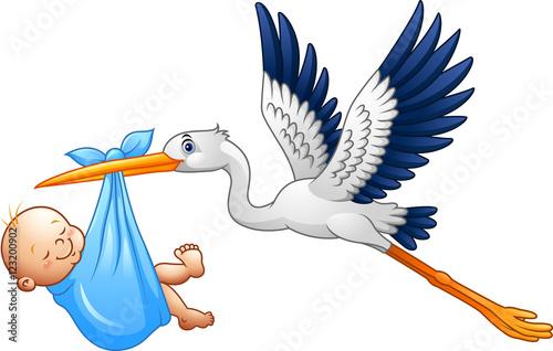 Carta da parati Cartoon stork with baby boy