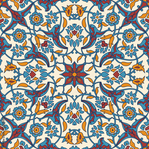 Printed kitchen splashbacks Moroccan Tiles Stylized flowers oriental wallpaper retro seamless abstract background vector, decoration tile print oriental tribal floral ornament paisley, arabesque floral pattern tile vintage