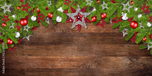 xmas christmas dark wood background with decorated fir
