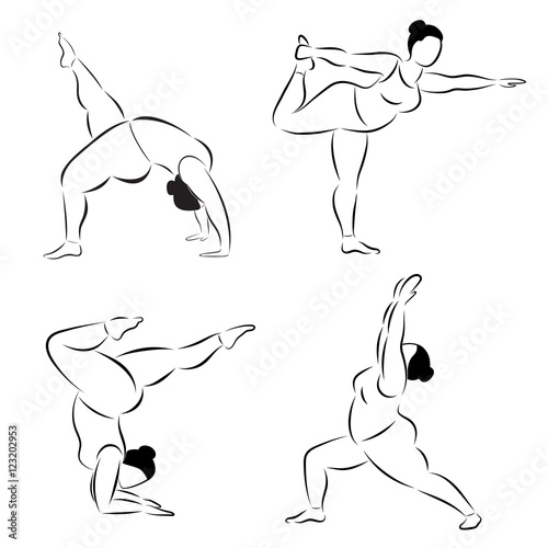 3e59de9b4519 Set of plus size flexible sporty woman doing yoga fitness. Set of various  silhouette yoga poses. Body positive. Vector set of yoga illustration