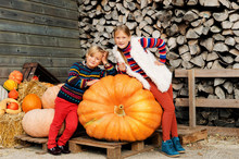 Little Brother And Sister On Farm Market Choosing Halloween Pumpkin