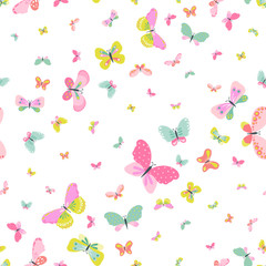 FototapetaColorful Seamless Background with Butterflies - for Scrapbooking