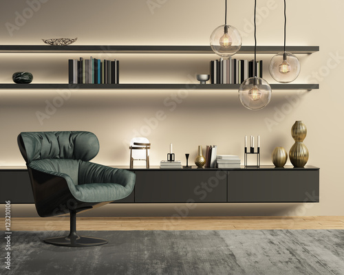Contemporary modern beige wall system living room