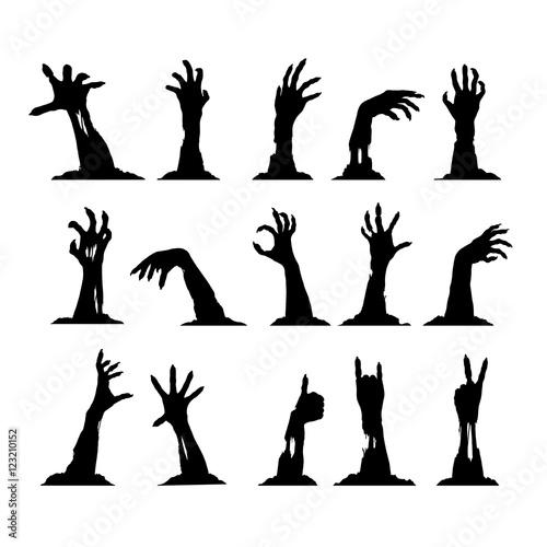 Obraz na plátně Set of Zombie Hands