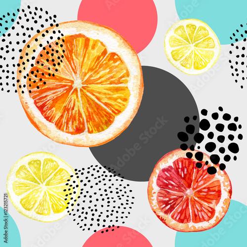 Watercolor fresh orange, grapefruit and colorful circles seamless pattern.