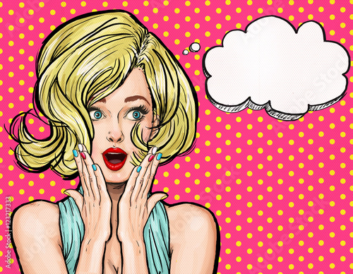 Pop Art illustration, surprised girl. Movie star. Comic woman. Sexy, head, face, love, valentines, joyful, retro, fashion, Sale, discount, amazed, wow, oops, lips, wow, makeup, wonder, Gossip , idea
