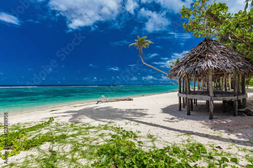 Foto auf Gartenposter Tropical strand Tropical vibrant beach on Samoa Island with palm tree and fale