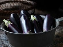Fresh Organic Vegetables, Oblong Baby Aubergines