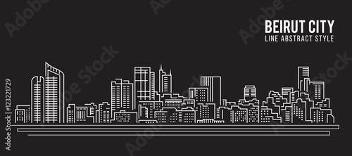 Fotografía Cityscape Building Line art Vector Illustration design - Beirut city