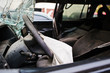Car after accident. Steering wheel with airbag after crash