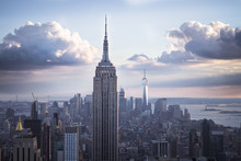 USA, New York City, Manhattan Skyline With Empire State Building At Sunset