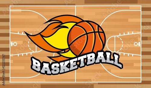Plakat basketball league emblem classic vector illustration design