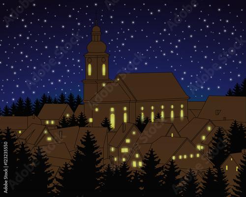 Foto-Doppelrollo - Weihnachtsdorf mit Sternen (von ii-graphics)