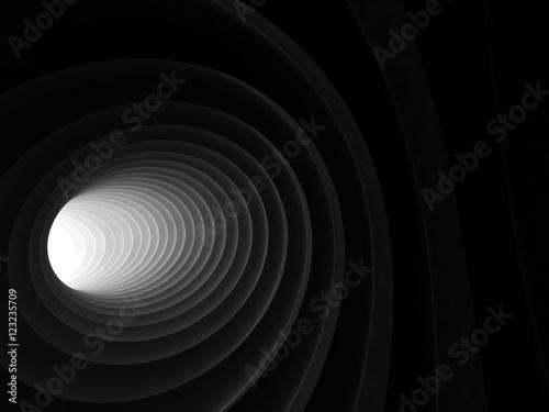 Zdjęcie XXL 3d czerń zginający ślimakowaty tunelowy wnętrze