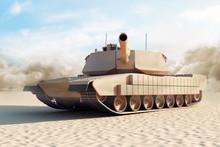 Heavy Military Tank In Desert. 3D Rendering. (Focus On The Tank)