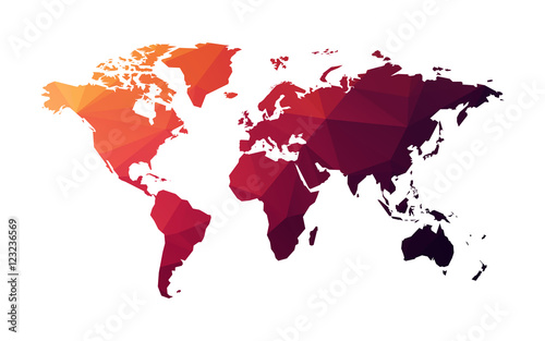 czerwona geometryczna mapa świata