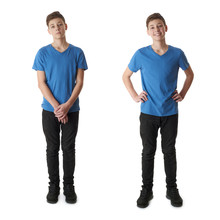 Set Of Cute Teenager Boy Over White Isolated Background
