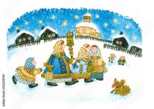 Fotografija  christmas in russia folk entertainment naively watercolor