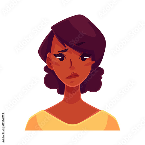 Pretty African Girl Upset Confused Facial Expression Cartoon