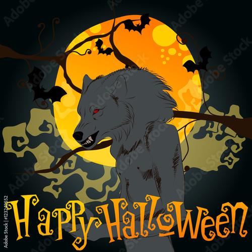 Fotografía  Halloween illustration with werewolf and full Moon