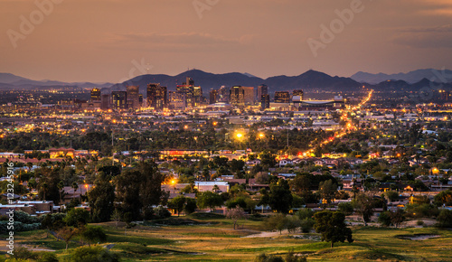 Keuken foto achterwand Arizona Phoenix Arizona skyline at sunset