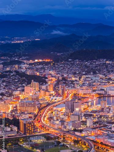 Foto op Canvas Seoel Sasebo downtown skyline at night, Nagasaki, Japan.