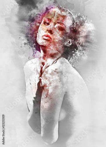cyfrowego-akwareli-obraz-piekna-mloda-kobieta