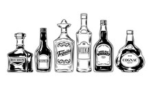Vector Set Of Bottles For Alco...