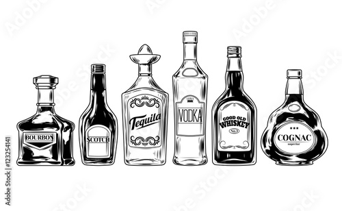 Fotografía Vector set of bottles for alcohol