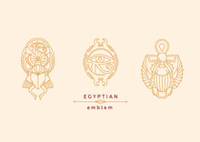 Emblem On Egyptian Scarab With Wings And A Cross