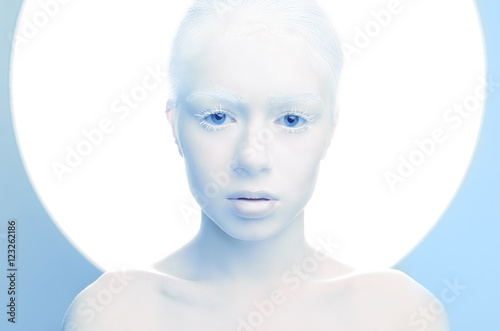 woman with white make-up studio portrait of an albino Canvas Print