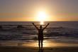 Yoga Frau Sonnenuntergang