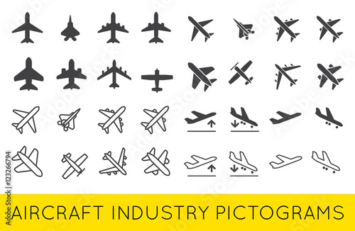 Ikony samolotów lub samolotów zestaw kolekcja sylwetka wektor