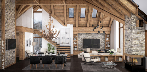 Fotografie, Obraz  3D rendering of  living room of chalet
