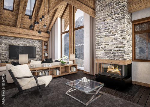 Fotografía  3D rendering of  living room of chalet
