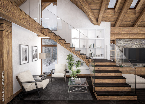 Obraz na plátně  3D rendering of  living room of chalet