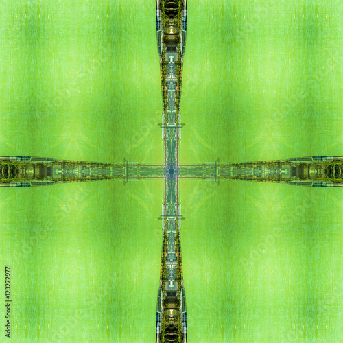 Poster Lime groen abstract Danube landscape