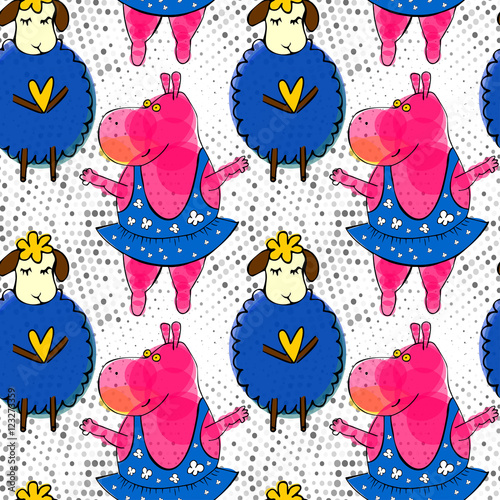 Cotton fabric Doodle pink hippo ballerina and blue sheep seamless pattern with retro halftones. Kid's drawings style