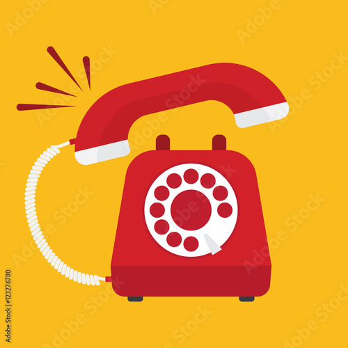 Fotomural Retro styled red telephone ringing